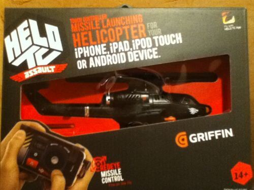 The helicopter remote in its packaging