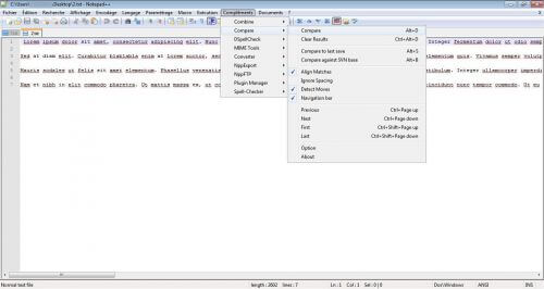 Notepad ++ compares