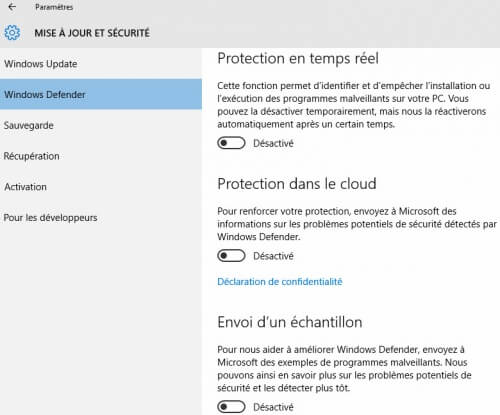 desactiver-windows-defender-temps-reel-500x415 Windows 10: วิธีการปิดใช้งาน Windows Defender