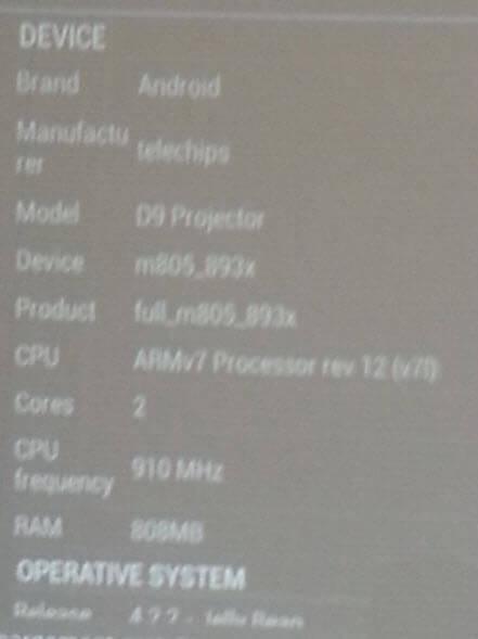 android-telechips-d9-projector-armv7-m805-893 Test / Review: Atongm D9, picoprojecteur DLP sous Android à 1200 lumens