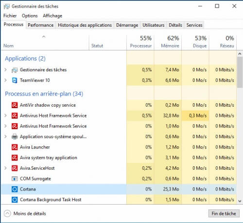 how to kill cortana process windows 10