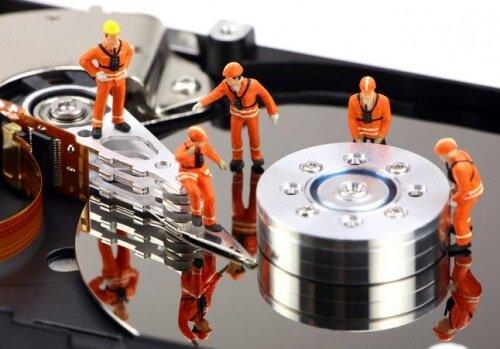 hard drive workers orange