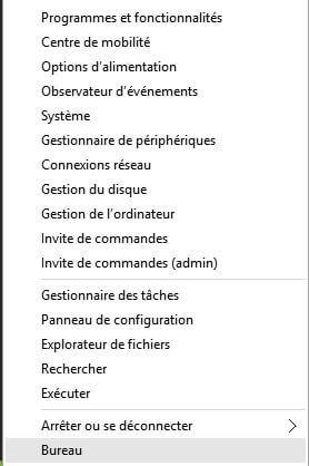 menu contextuel menu demarrer