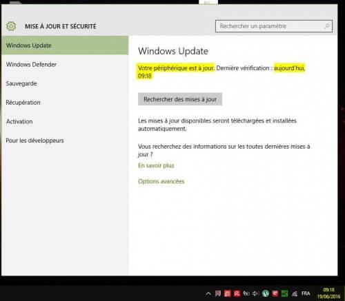 probleme windows update pas mise a jour sécurité