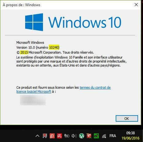 à propos version windows10 build 10240 2015