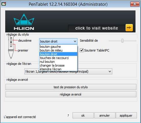 config_logiciel_02 Test / Avis : Tablette graphique sans fil Huion WH1409