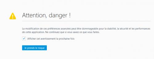 """firefox-config-attention-danger-500x192 Firefox: Comment supprimer le message """"cette connexion n'est pas sécurisée"""""""