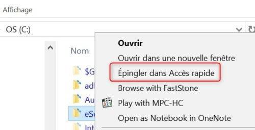 explorateur fichier windows epingler dans accès rapide dossier