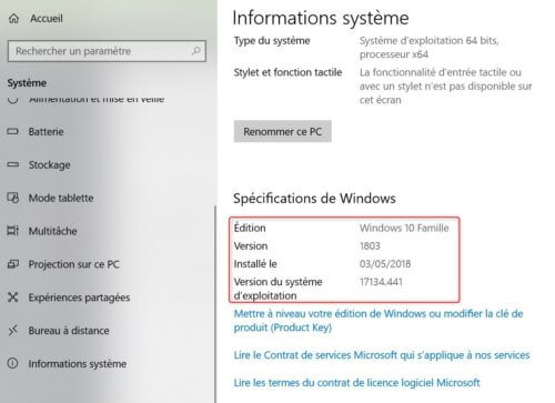 informations système windows 10 édition