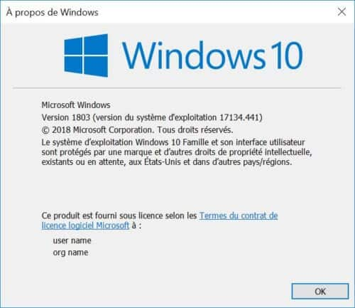 fenêtre windows 10 version 1803