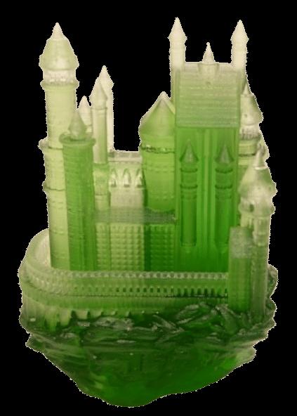 impression 3D sla chateau vert transluscide